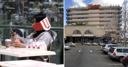 Une femme est devenue virale en ligne après avoir utilisé une boîte KFC comme masque facial
