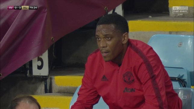 Anthony Martial shortly after being replaced in Manchester United's win at Aston Villa in the Premier League