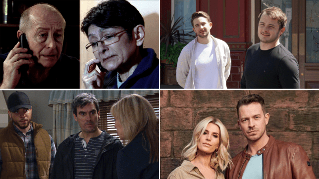 Yasmeen and Geoff in Coronation Street, Max Bowden and Tony Clay in EastEnders: Secrets From The Square, Nate, Cain and Kim in Emmerdale and Mandy and Darren in Hollyoaks