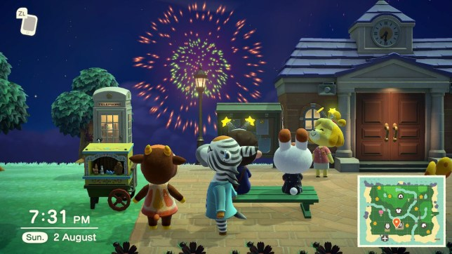 Animal Crossing: New Horizons fireworks screenshot