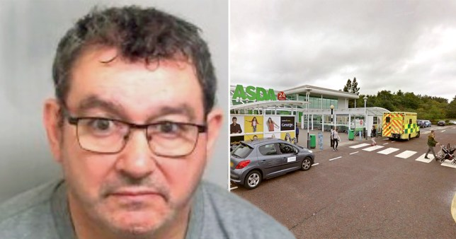 Neil Diaz, 58, from Colchester, next to the Asda where he held up a mum at knifepoint because he wanted to 'scare a woman'