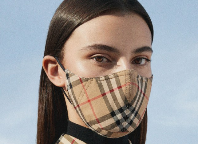 burberry beige check face mask