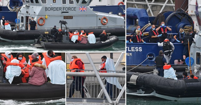 Border Force officials by the English channel as migrants arrive