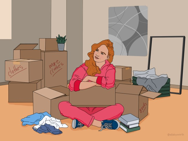 someone who's just moved house and is surrounded by boxes