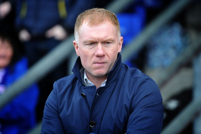 Former Manchester United ace Paul Scholes during the Sky Bet League 2 match between Oldham Athletic and Crewe Alexandra at Boundary Park, Oldham on Saturday 16th February 2019.