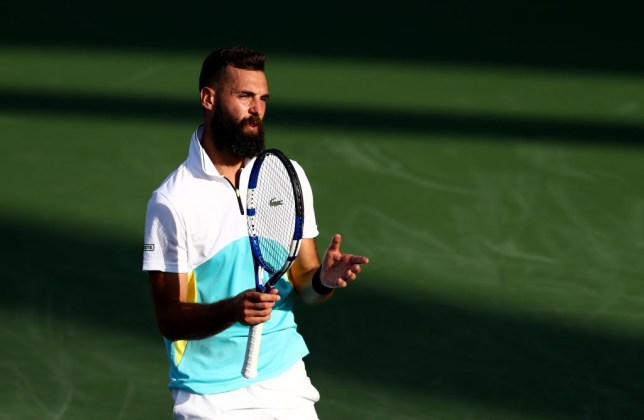 Benoit Paire of France reacts  against Marin Cilic of Croatia during his men's singles match on Day Nine of the Dubai Duty Free Tennis at Dubai Duty Free Tennis Stadium on February 25, 2020 in Dubai, United Arab Emirates.