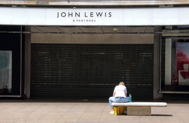 Shuttered entrance to the John Lewis store London's Oxford Street