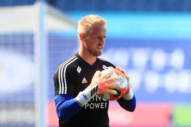 Kasper Schmeichel looks on before Leicester City's Premier League clash with Manchester United