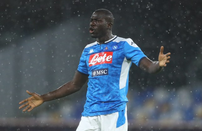 Chelsea transfer target Kalidou Koulibaly looks on during Napoli's clash with Lazio
