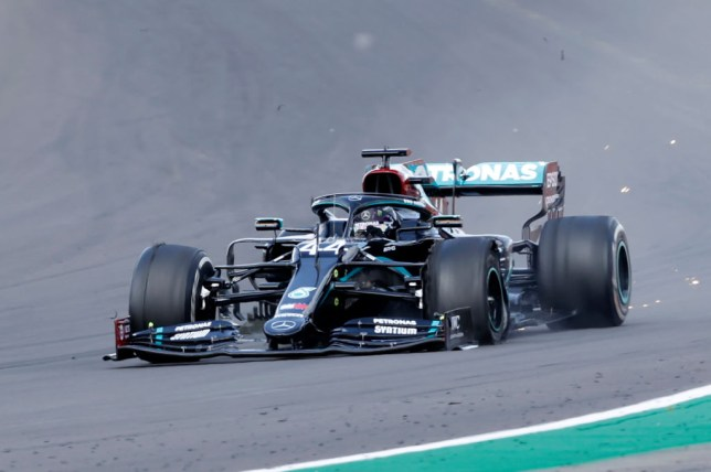 Lewis Hamilton's Mercedes suffered a puncture to his front left tyre on the final lap
