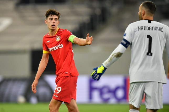 Chelsea transfer target Kai Havertz looks on during Bayer Leverkusen's Europa League clash with Inter Milan