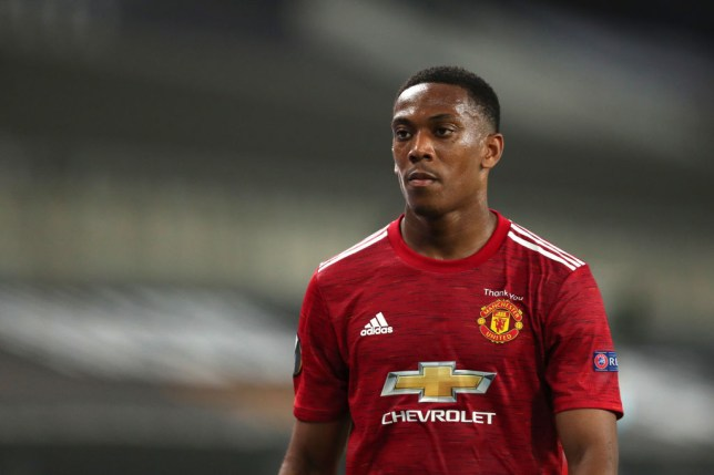 Anthony Martial of Manchester United during the UEFA Europa League Quarter Final between Manchester United and FC Kobenhavn at RheinEnergieStadion on August 10, 2020 in Cologne, Germany.