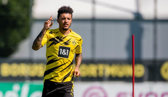 Jadon Sancho of Borussia Dortmund runs with the ball during a training session with the new PUMA home kit on June 24, 2020 in Dortmund, Germany.