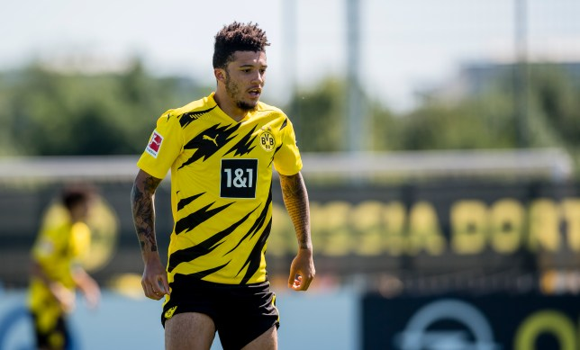 Manchester United transfer target Jadon Sancho looks on in Borussia Dortmund training