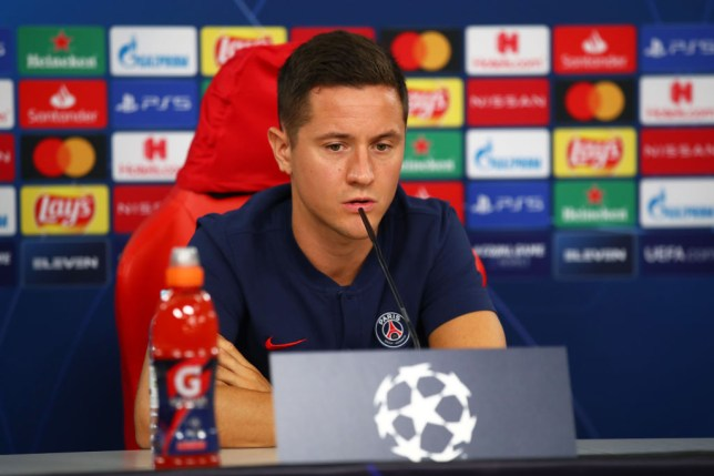 Ander Herrera of Paris Saint-Germain looks on as he speaks to the media during a Paris Saint-Germain Press Conference at Estadio do Sport Lisboa e Benfica on August 17, 2020 in Lisbon, Portugal.