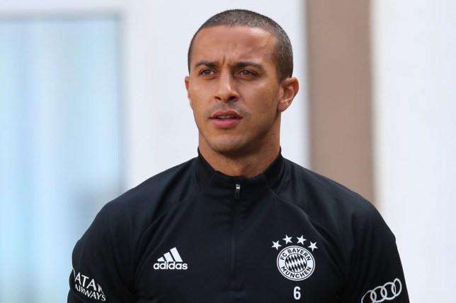 Liverpool transfer target Thiago Alcantara looks on in Bayern Munich training