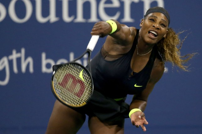 Serena Williams serves to Maria Sakkari of Greece during the Western & Southern Open at the USTA Billie Jean King National Tennis Center on August 25, 2020 in the Queens borough of New York City.