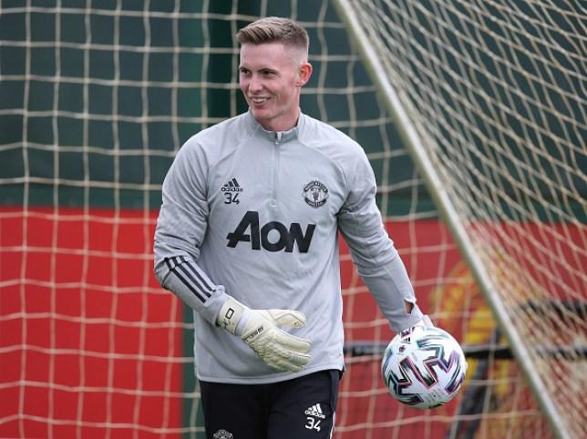 Dean Henderson looks on in Manchester United pre-season training