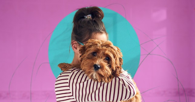 Woman holding her dog with her face covered by the pooch, against a purple background