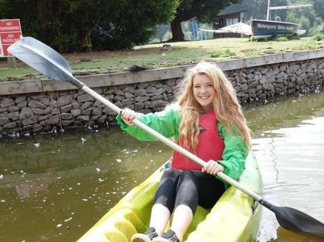 Caragh in a kayak in the Lake District