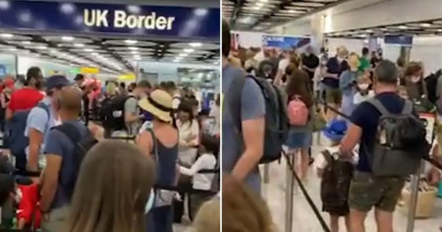 Large queues seen at Heathrow Airport as passengers wait to get through passport control.