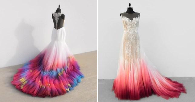 Colourful wedding dress