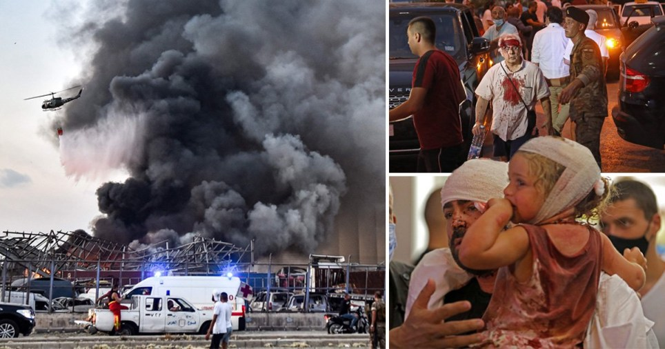 Composite image of Beirut explosion