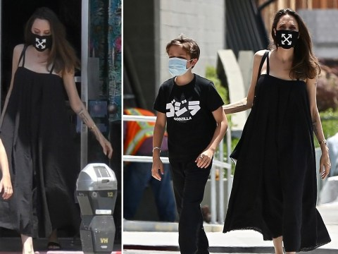 Angelina Jolie wears statement $105 charity face mask on shopping trip with son Knox