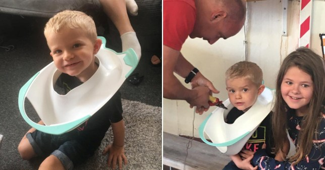 Toddler with toilet seat on his head
