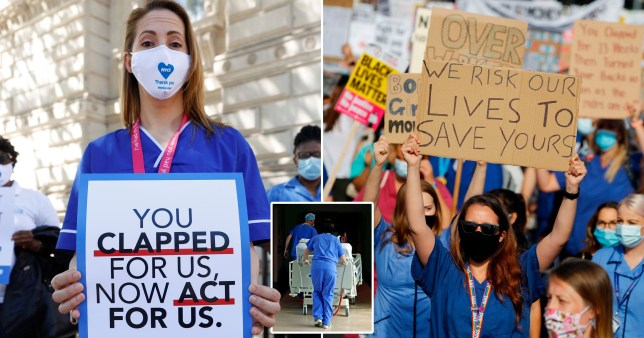 NHS workers protesting over pay rise