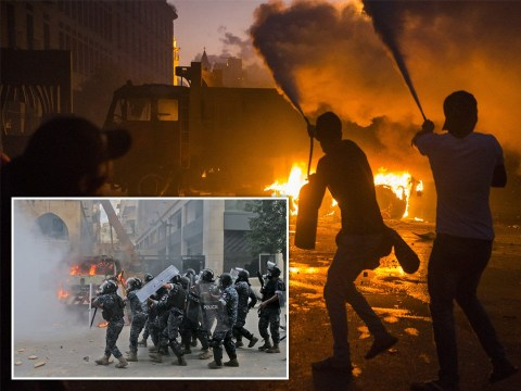Beirut protesters hurl molotov cocktails at riot police as streets boil over with violence
