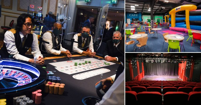Picture shows people at casino table, a soft play centre and a theatre