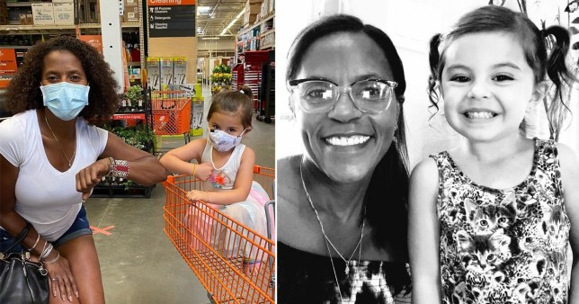 Black woman with toddler in store