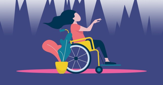 illustration of a disabled woman using a wheelchair