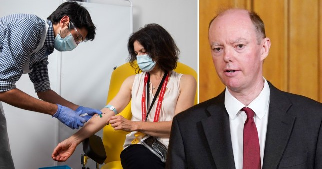 A woman getting a vaccination and Chris Whitty