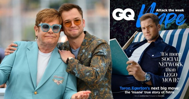 Taron Egerton pictured with Elton John and on the cover of GQ Hype
