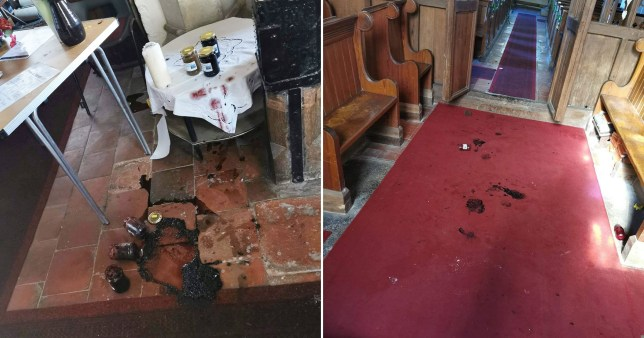 Vandals covered the 930-year-old church in jam