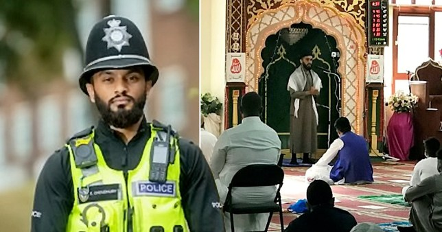 PC Emad Choudhury in uniform and in service at a mosque