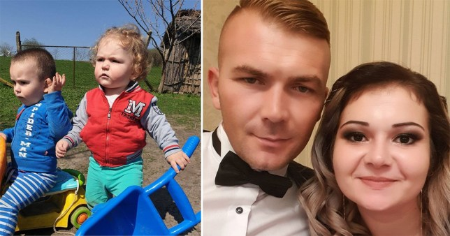Gabriel and his brother, and their parents Roxana and Valentin Bughiu