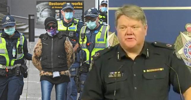 La police arrête un manifestant lors d'un projet de rassemblement anti-lockdown qui ne s'est pas concrétisé à Melbourne le 9 août 2020 (à gauche) et le commissaire adjoint de la police de Victoria, Luke Cornelius, lors d'une conférence de presse dans laquelle il a appelé les organisateurs de la manifestation anti-lockdown le `` chapeau en papier d'aluminium- portant une brigade qui colporte des chauves-souris