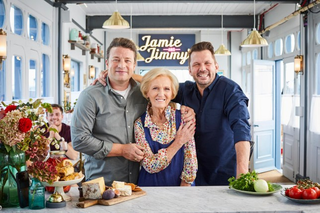 Jamie And Jimmy's Friday Night Feast Jamie Oliver , Jimmy Doherty and Mary Berry.