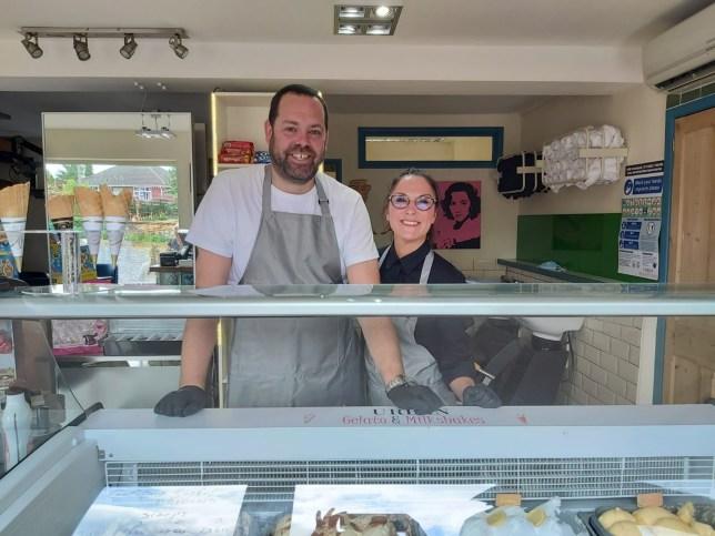 Luke Daniels and his partner emma in their ice cream shop, Urban Gelato & Milkshakes, which saved them in lockdown