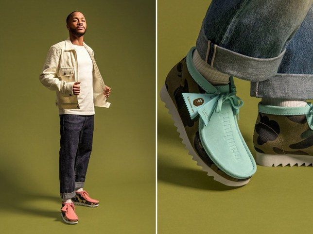 Clarks and BAPE team up to create Wallabees collection modelled by Raheem Sterling Pictures: Clarks/BAME/Hypebeast
