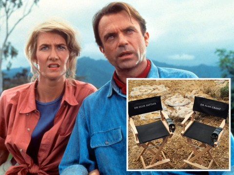 Sam Neill and Laura Dern take us back in time with personalised character chairs on the set of new Jurassic Park film