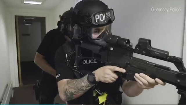 Guernsey Police has been mocked for a high octane, gun-toting recruitment video that has been compared to spoof police movie Hot Fuzz. The advert shows explosions detonating, footage of armed raids and high-speed car chases. The police force claims that the video represents a typical week - despite the relative lack of crime on the holiday island. Last year, there were zero murders, only one robbery and less than 2,300 total reported crimes.