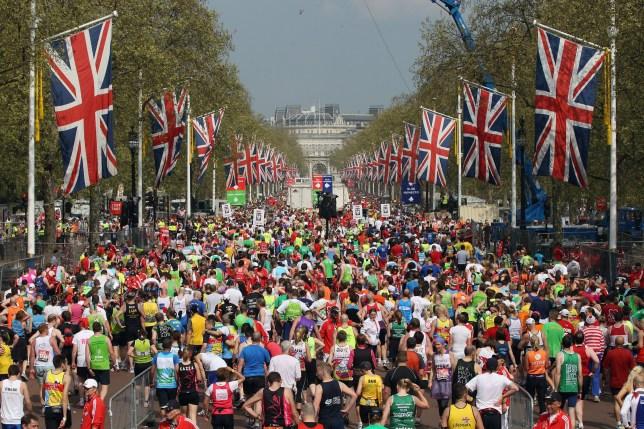 Runners finish the 2011 Virgin Money London Marathon