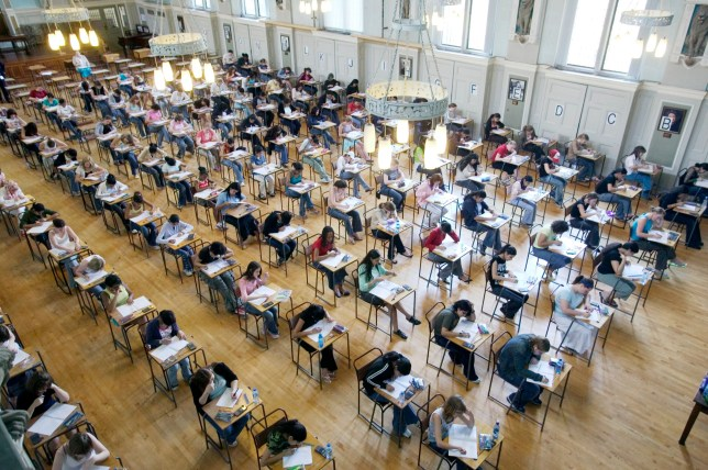 Pupils at King Edward VI School in Handsworth start their GCSE (General Certificate in Secondary Education) examination in Biology.