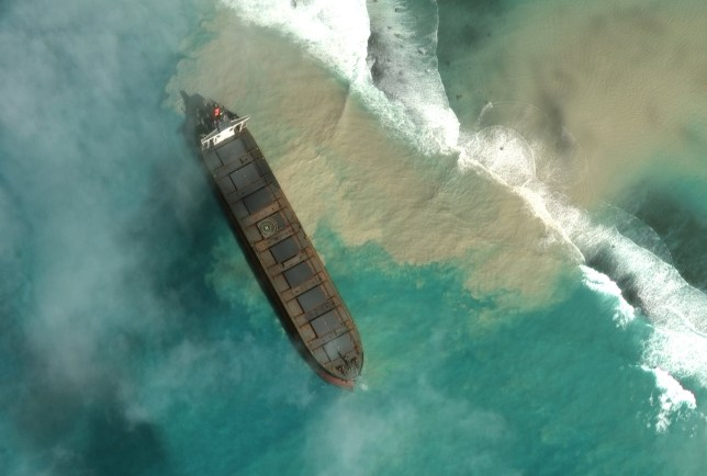 an aerial view of the MV Wakashio, a bulk carrier ship that recently ran aground off the southeast coast of Mauritius and is leaking oil