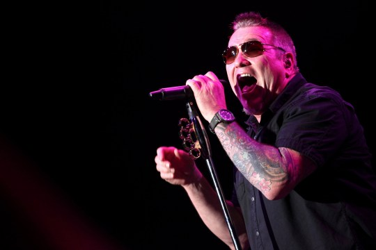 LOS ANGELES, CA - AUGUST 12: Musician Steve Harwell of Smash Mouth performs during the Under The Sun Tour at The Greek Theatre on August 12, 2014 in Los Angeles, California. (Photo by Tommaso Boddi/WireImage)