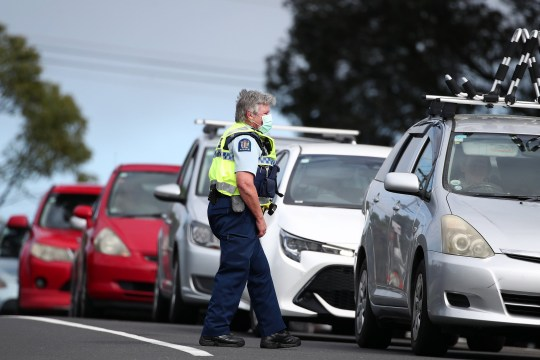 Police stopping traffic in Auckland, New Zealand